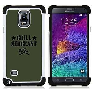 For Samsung Galaxy Note 4 SM-N910 N910 - GRILLING SERGEANT QUOTE FUNNY LABEL FOOD Dual Layer caso de Shell HUELGA Impacto pata de cabra con im??genes gr??ficas Steam - Funny Shop -