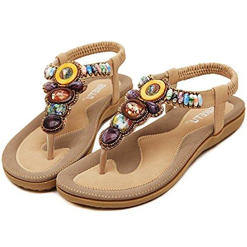 Minetom Damen Sommer Boho Rhinestones Flip Flop Schuhe Fashion Sandaletten Zehentrenner Sandalen Strandschuhe ( Aprikose EU 36 ) GBJKuN8MJ