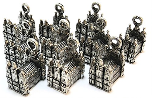 Set of Ten (10) Silver Tone Pewter Mormon Temple Charms