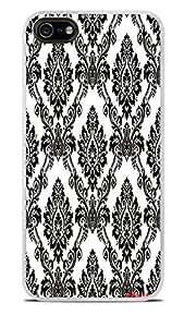 Black White Damask Pattern White Hardshell For Ipod Touch 4 Phone Case Cover