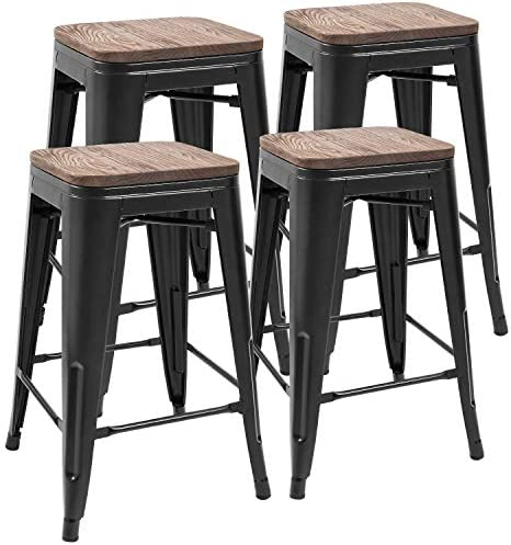 JUMMICO Metal Bar Stools Indoor-Outdoor Stackable Modern Metal Counter Height Industrial Barstool