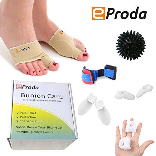 eProda Bunion Corrector - Orthopedic Foot Pain Relief Sleeves Kit with Massage Ball Bunion Splint & 3 Pairs Toe Separators Spacers for Men & Women - Stop Plantar Fasciitis Hammer Toes Hallux Valgus by eProda (Image #1)