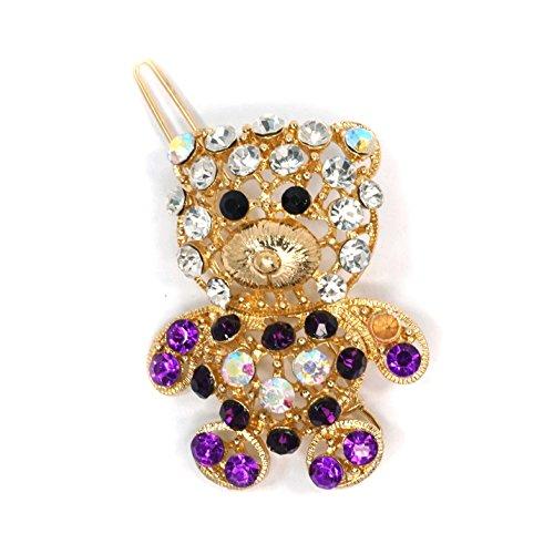 Teri's Boutique Teddy Bear Rhinestone Women Baby Girls Cute Headwear Hairpin Hair Clip (Purple)