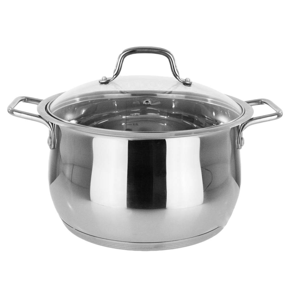 """Thaweesuk Shop Stockpot 14 Qt Stainless Steel Commercial Tri-Ply Capsule Bottom Pot Dutch Oven 7"""" H 13"""" D of Set"""