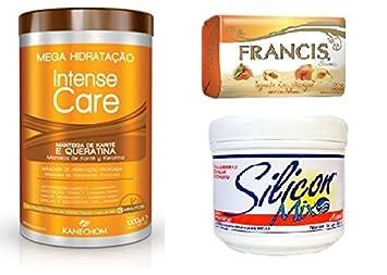Amazon.com : Kanechom Intense Care with Keratin and Shea Butter (Queratina e Manteiga de Karite) + Silicon Mix Treatment 16oz + Francis Soap Yogurt and ...