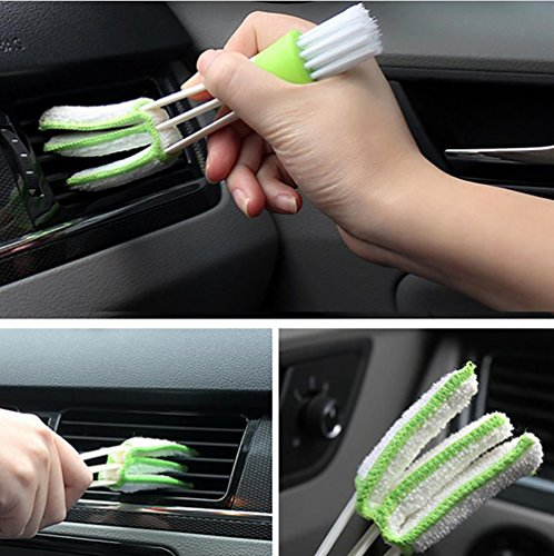 COCODE 11Pcs Auto Detailing Brush Set for Cleaning Wheels, Interior, Exterior, Leather, Including 6pcs Natural Boar Hair Detail Brush, 2pcs Automotive Air Conditioner Cleaner Brush and 3pcs Wire Brush