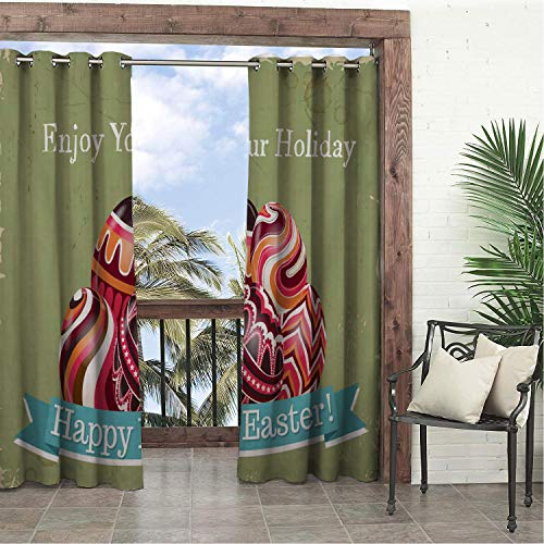 Linhomedecor Balcony Waterproof Curtains Happy Easter Day Easter Eggs Enjoy Your Holiday Porch Grommets Cabana Curtain 108 by 84 inch