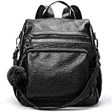 Backpack Purse for Women PU Leather Fashion Travel Detachable Covertible Ladies Shoulder Bag black
