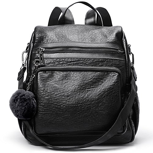 Backpack Purse for Women Leather Fashion Travel Detachable Covertible Ladies Shoulder Bag Black