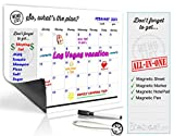 Refrigerator Calendar Kit – Includes Magnet Board/ Magnetic NotePad / Magnetic Dry Erase Marker + Eraser Top / Design Magnetic Pen – Easily Write & Wipe (White)