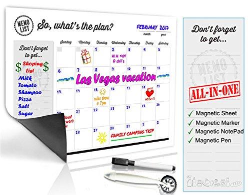 Refrigerator Calendar Kit – Includes Magnet Board/ Magnetic NotePad / Magnetic Dry Erase Marker + Eraser Top / Design Magnetic Pen – Easily Write & Wipe (White) by MemoList