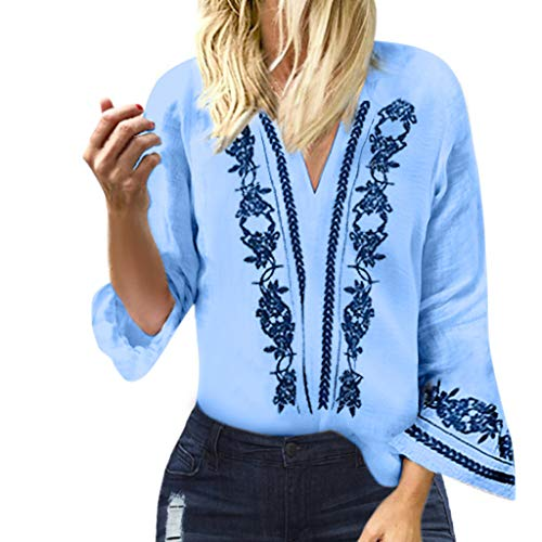 (Women's Casual V Neck Blouse Flared Sleeve Shirt Vintage Ethnic Print Tunic Top T-Shirts (Blue, US:4))