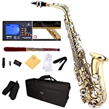 Mendini E-Flat Alto Saxophone, Gold Lacquered with Nickel Plated Keys and Tuner, Case, Pocketbook - MAS-LN+92D+PB