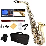 Mendini by Cecilio E-Flat Alto Saxophone, Gold Lacquered with Nickel Plated Keys + Tuner, Case, Pocketbook - MAS-LN+92D+PB