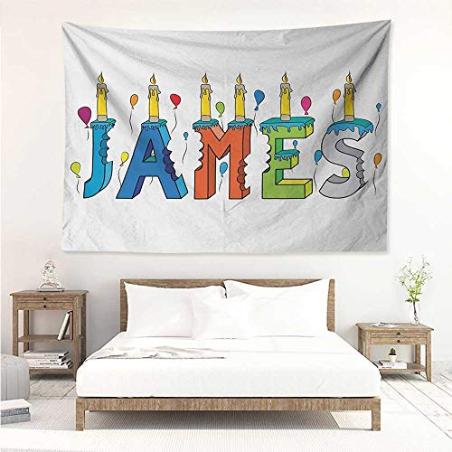 alisos James,Bedding Tapestry Surprise Party Themed Cheery Letters of a Popular Male Name Birthday Celebration 72W x 54L Inch Bedspread Picnic -