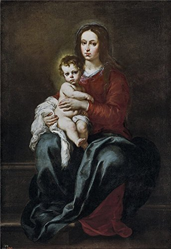 The High Quality Polyster Canvas Of Oil Painting 'Murillo Bartolome Esteban La Virgen Con El Nino 1655 65 ' ,size: 16 X 23 Inch / 41 X 59 Cm ,this High Resolution Art Decorative Prints On Canvas Is Fit For Laundry Room Decoration And Home Artwork And Gifts