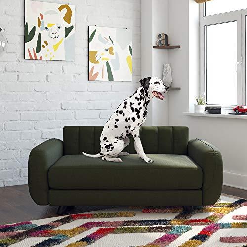 Novogratz 6251849N Brittany, Large Pet Bed Furniture,Green Linen Sofas