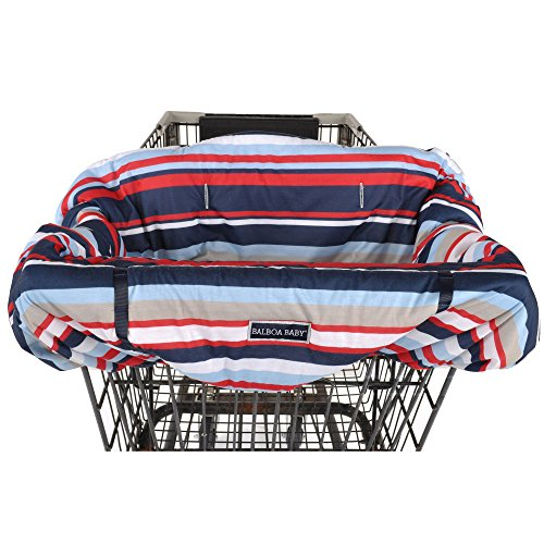 Balboa Baby Jersey Shopping Cart Cover - Navy & Red Stripe