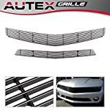 2010 camaro grille - AUTEX Compatible With 2010 2011 2012 2013 Chevy Camaro LT/LS V6 Phantom Billet Grille Combo Upper + Lower Bumper Grill Insert Aluminum Black Powder Coated #C61027H
