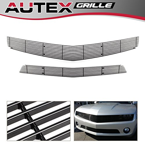AUTEX Compatible With 2010 2011 2012 2013 Chevy Camaro LT/LS V6 Phantom Billet Grille Combo Upper + Lower Bumper Grill Insert Aluminum Black Powder Coated #C61027H