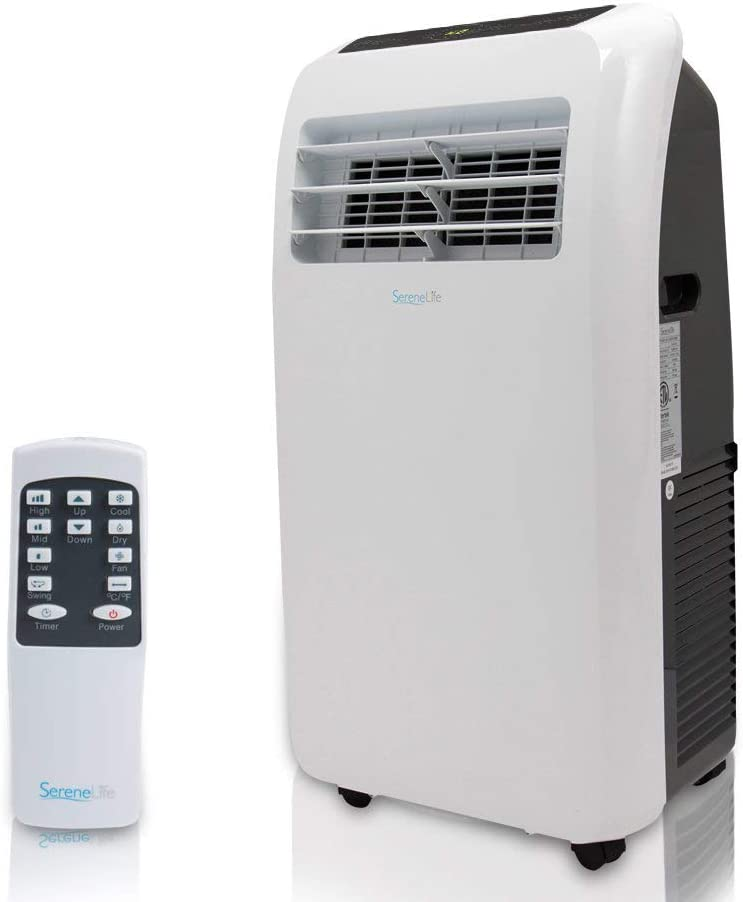 SereneLife 12,000 BTU Portable 3 in 1 Air Conditioner for Rooms Up to 450 Sq. ft, Black