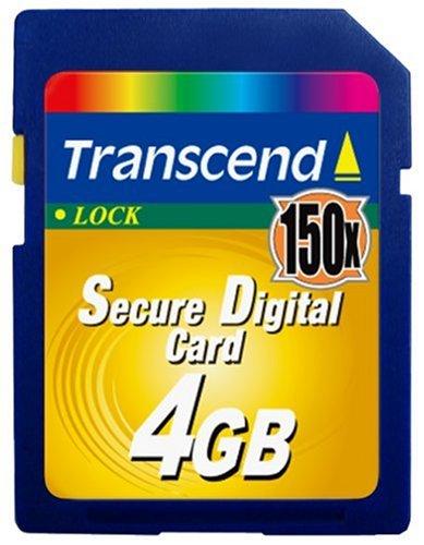 Transcend 150X Secure Digital Card 4GB Memoria Flash SD - Tarjeta de Memoria (4 GB, SD, 20 MB/s, 17 MB/s)