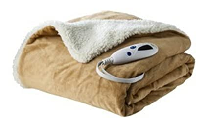 706fecff629 Amazon.com  Biddeford - Micro Mink   Sherpa - Heated Throw - Beige ...