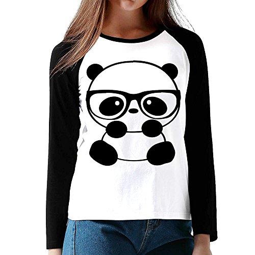 Nerd Panda Women's Cotton Long Sleeve Casual Shirt Baseball Tee Raglan Sleeves T-Shirt Black US Size - With Lawrence Glasses Jennifer