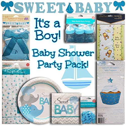 - Baby Shower Boy Set, Includes: 1 Table Cloth, 1 Pack of Paper Plates, 1 Pack of Napkins, 2 Packs of Party Favors, 1 Game Book, 1 Letter Garland, and 1 Pack of Cupcake Toppers