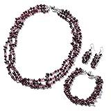 Silvertone & Stainless Steel Fancy Garnet, Glass Bracelet 8'' Earring Necklace 20'' Set