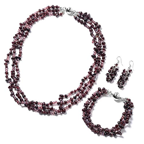 Silvertone and Stainless Steel Garnet Glass Bracelet 8