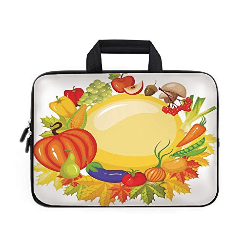 (Harvest Laptop Carrying Bag Sleeve,Neoprene Sleeve Case/Garden Products from Whole Year Mushroom Bell Peppers Carrot Leek Healthy Life Decorative/for Apple Macbook Air Samsung Google Acer HP DELL Leno)