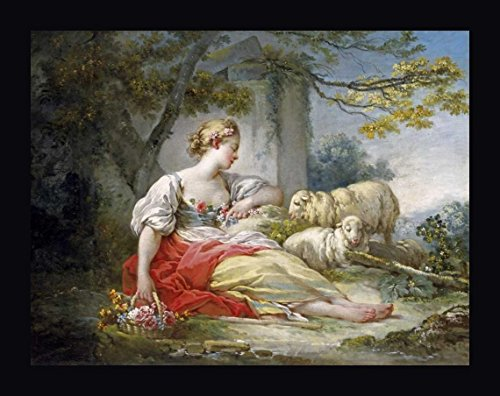Shepherdess Seated with Sheep and a Basket of Flowers Near a Ruin in a Wooded Landscape by Jean Honore Fragonard - 16