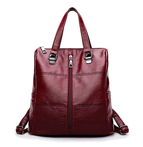 DEERWORD Shoppers bandolera escolares PU Bolsas hombro de Bolsos Cuero y Burdeos de Bolsos bolsos mochila Mujer AqA0r