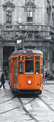 Tramways Poster Photo Wallpaper - Tram Milano 1863, Retro Style (80 x 35 inches) ()