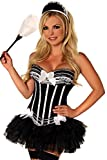 Daisy Corsets Women's 4 Piece Pin-Up Naughty Maid Costume, Black, 2X