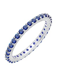 1.00 Carat (ctw) 10K Gold Round Blue Sapphire Ladies Eternity Anniversary Stackable Ring Band 1 CT