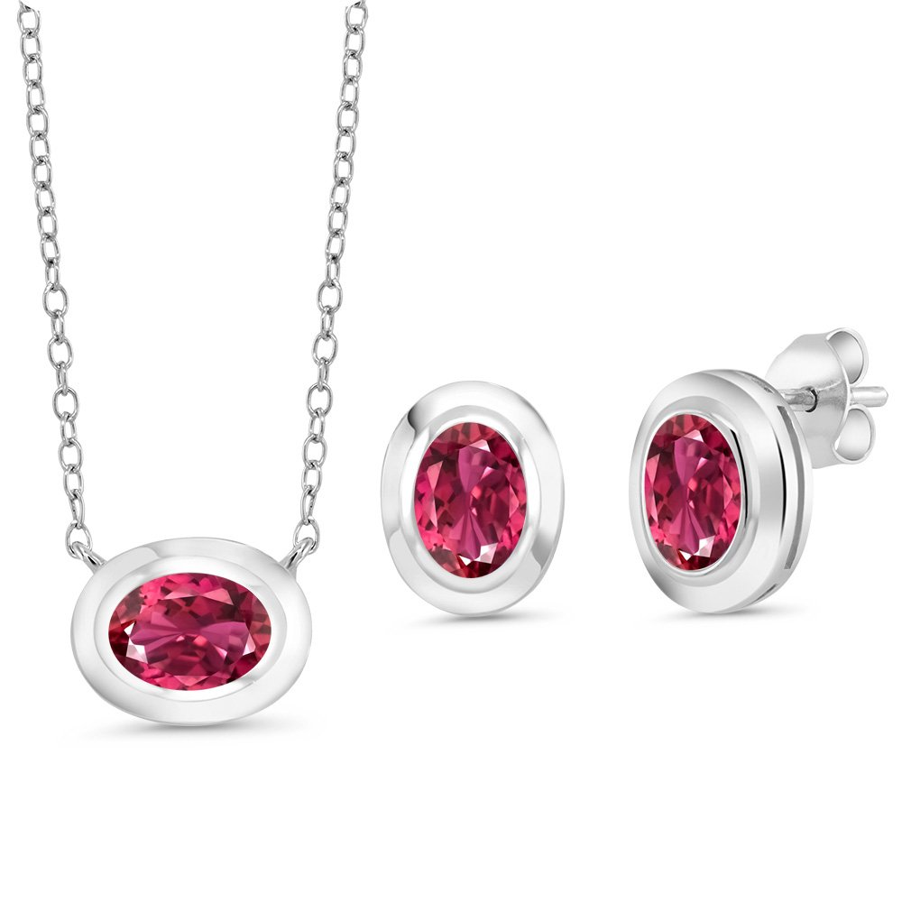 2.10 Ct Oval Pink Tourmaline 925 Sterling Silver Pendant Earrings Set With Chain