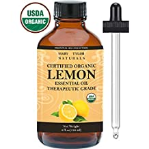 Organic lemon Essential Oil, Large 4 oz, USDA Certified Organic by Mary Tylor Naturals, 100% Pure Essential Oil, Therapeutic Grade, Perfect for Aromatherapy, Relaxation, DIY, Improved Mood
