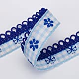Neotrim French Picot Edge Pretty Ribbons Checks Flower Design By the Yard Online. Beautiful 1.5cm wide with loops ribbon; Beautiful art Folk ribbon design; Haberdashery trimmings; Very subtle design and very beautiful colours; Great For Crafts and Hobbies