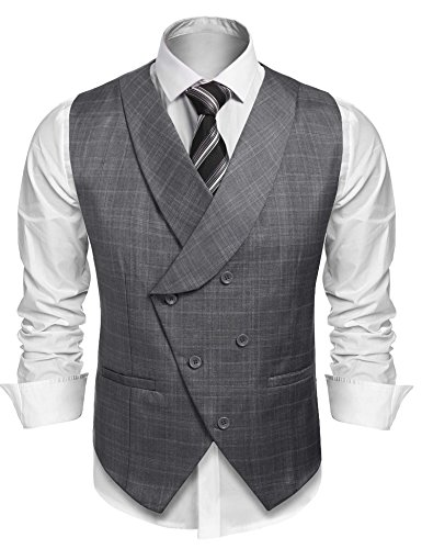 Coofandy Men's Plaid Slim Fit Double Breasted Dress Suit Button Down Vest (Suit Coat)