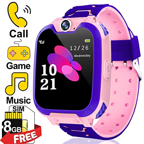 [Free SIM Card + 8GB TF] Kids Games Watch for Girl 3-12 Years Old | Kids Smart Watch Phone | Two-Way Call SOS Games Camera Music Player | Child Cellphone Wrist Watch Electronic Toy Back to School Gift