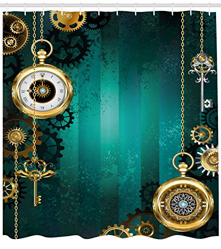 Ambesonne Industrial Shower Curtain, Antique Items Watches Keys and Chains with Steampunk Influences Illustration, Cloth Fabric Bathroom Decor Set with Hooks, 75