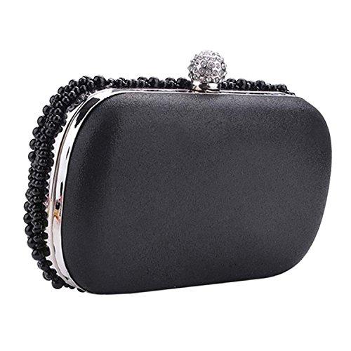 Pochette per donna - SODIAL(R) Pochette per donna di perla in rilievo per festa di nozze borsa da sera nero.