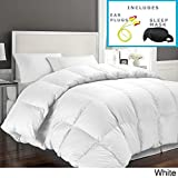 Alternative Comforter - Hotel Grand 1000 Thread Count Egyptian Cotton King Down Alternative Comforter with Sleep Mask and Pair of Corded Earplugs, White