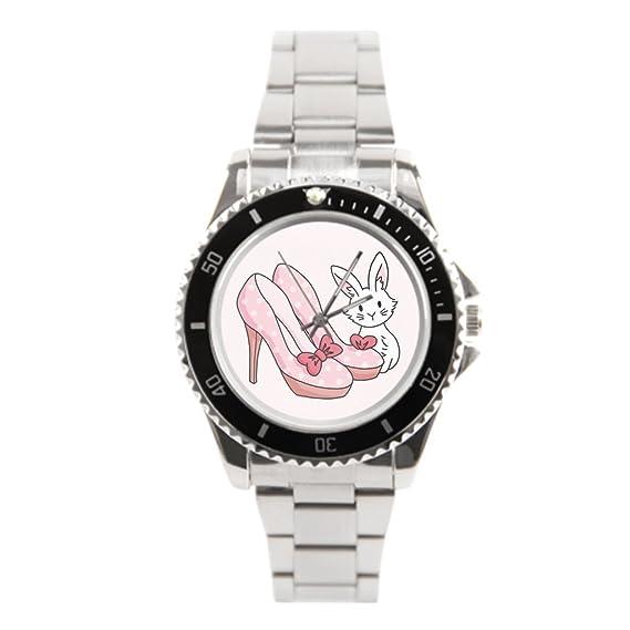 blue5 rosa cosas mejores relojes de acero inoxidable reloj de acero inoxidable, diseño de conejos: Amazon.es: Relojes