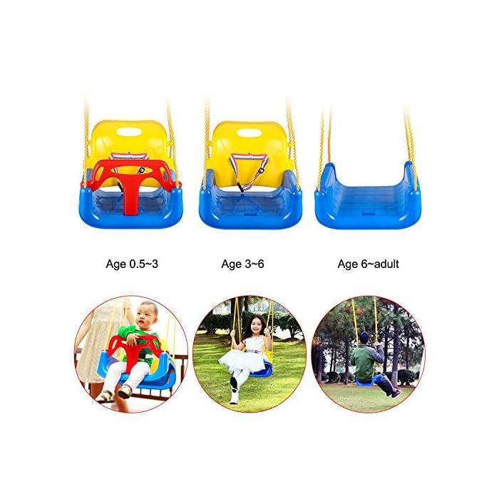 519u0jRma2L ➦ DISEÑO 3-EN-1: El columpio tiene el diseño de una combinación de 3 en 1 que satisface la demanda suficiente para el crecimiento de sus hijos. Se adapta desde bebés hasta adolescentes. ➦ SEGURO SUFICIENTE: El protector de la barra en T y la parte posterior (que tiene un cinturón de seguridad colocado) garantizan la seguridad de sus hijos. El diseño especial de la hebilla para cuerda de nylon protege el columpio de volcarse. ➦ LONGLIFE PARA USO: El asiento del columpio está hecho de plástico de alta calidad que garantiza años de balanceo.