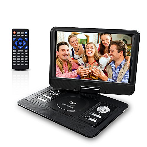 13.3'' Portable DVD Player Mobile DVD Player with 270° Swivel Screen,CD Player with Rechargeable Battery SD Card Slot and USB Port for Car
