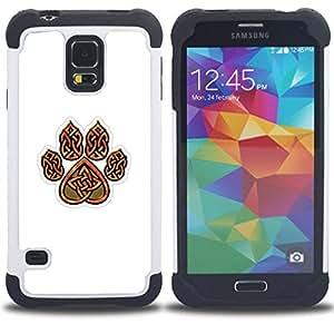 """SAMSUNG Galaxy S5 V / i9600 / SM-G900 - 3 en 1 impreso colorido de Altas Prestaciones PC Funda chaqueta Negro cubierta gel silicona suave (Garra de oso de Brown White Heart Patrón"""")"""
