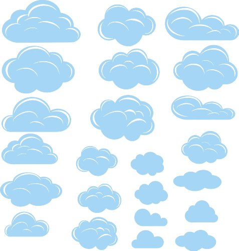 - Clouds baby blue stickers (23pcs) peel and stick vinyl wall art wall decal wall decor